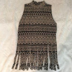 Nana Sleeveless Aztec Print Fringed Top